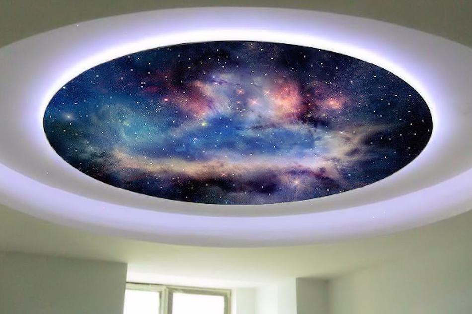 всем мире потолок фотопечать космос каждом даже